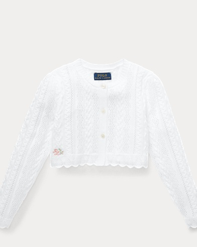 폴로 랄프로렌 Polo Ralph Lauren Scalloped Cotton Shrug,White