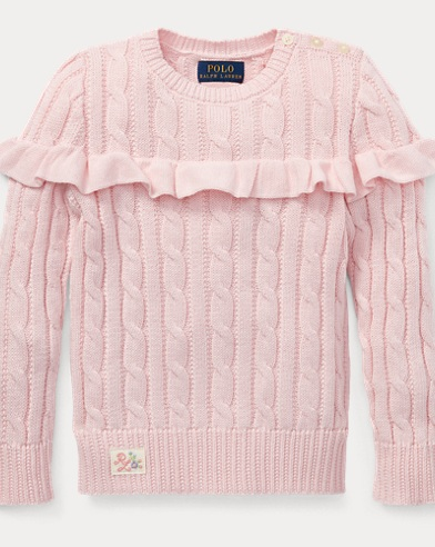 폴로 랄프로렌 Polo Ralph Lauren Ruffled Cotton Sweater,Hint Of Pink