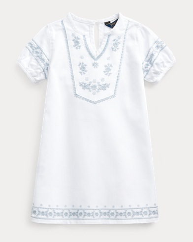 폴로 랄프로렌 Polo Ralph Lauren Embroidered Cotton Denim Dress,Bell Wash