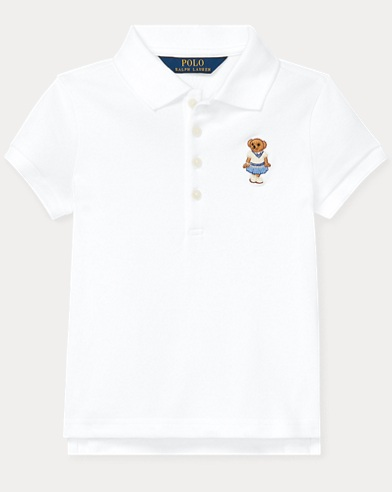 폴로 랄프로렌 Polo Ralph Lauren Cricket Bear Mesh Polo Shirt,White