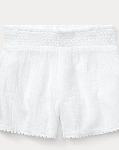 폴로 랄프로렌 Polo Ralph Lauren Smocked Cotton Short,White