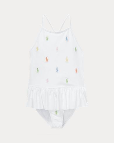폴로 랄프로렌 여아용 원피스 수영복 Polo Ralph Lauren Polo Pony One-Piece Swimsuit,White
