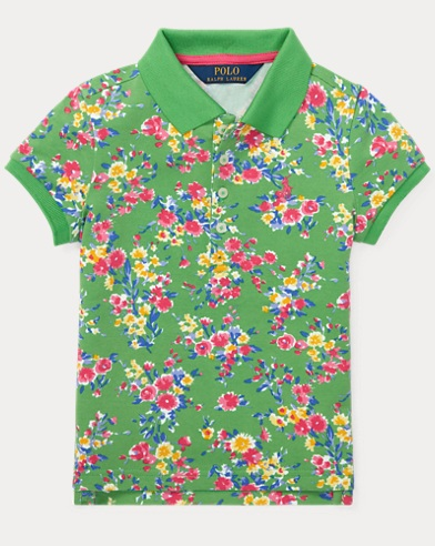 폴로 랄프로렌 Polo Ralph Lauren Floral Stretch-Mesh Polo Shirt,Green Multi