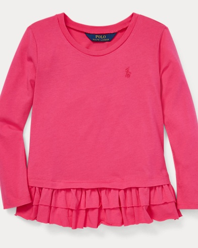 폴로 랄프로렌 Polo Ralph Lauren Ruffled Cotton-Modal Top,Ultra Pink