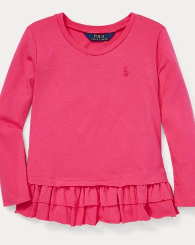 폴로 랄프로렌 Polo Ralph Lauren Ruffled Cotton-Modal Top,Ultra Pink