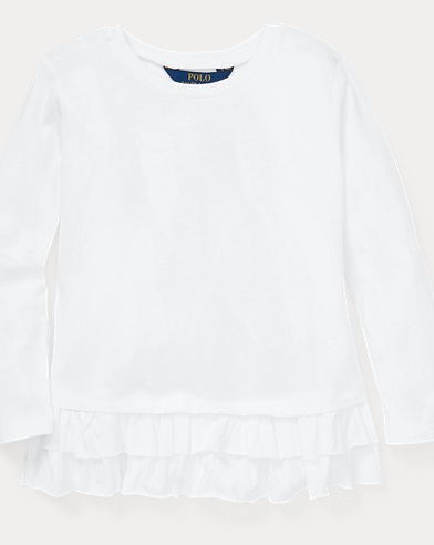 폴로 랄프로렌 Polo Ralph Lauren Ruffled Cotton-Modal Top,White