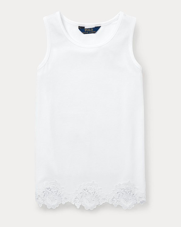 폴로 랄프로렌 걸즈 탱크 탑 Polo Ralph Lauren Lace-Trim Cotton-Modal Tank,White