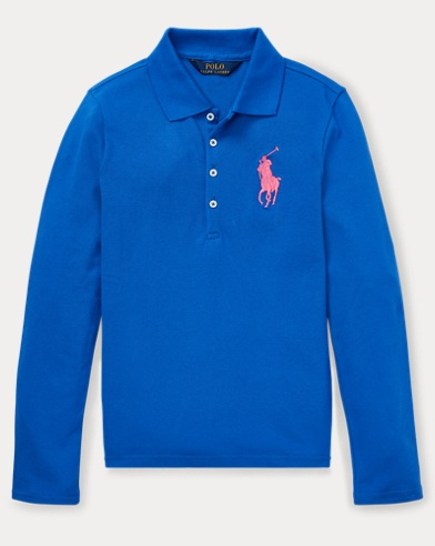 폴로 랄프로렌 Polo Ralph Lauren Big Pony Stretch Mesh Polo,New Iris Blue