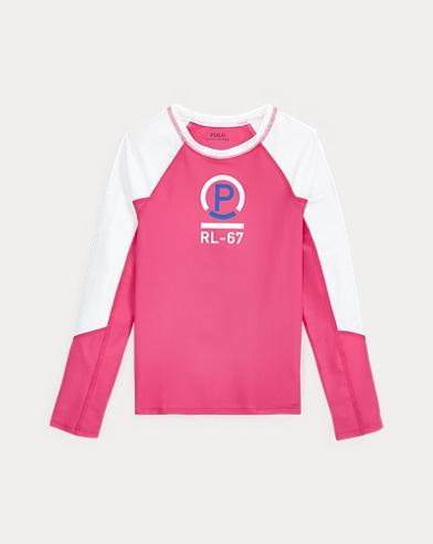 폴로 랄프로렌 걸즈 래쉬가드 - 핑크 Polo Ralph Lauren Solid Rash Guard,Ultra Pink