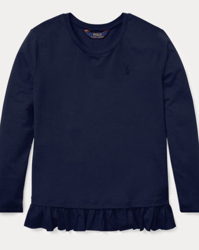 폴로 랄프로렌 Polo Ralph Lauren Ruffled Cotton-Modal Top,French Navy
