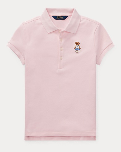 폴로 랄프로렌 걸즈 '크리켓 베어' 반팔 폴로셔츠 핑크 Polo Ralph Lauren Cricket Bear Mesh Polo Shirt,Hint Of Pink