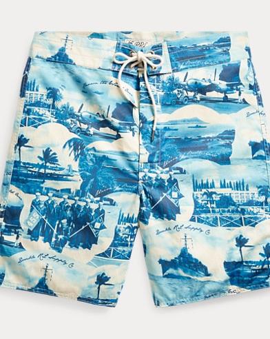 폴로 랄프로렌 Polo Ralph Lauren Cotton-Blend Graphic Short,Blue White