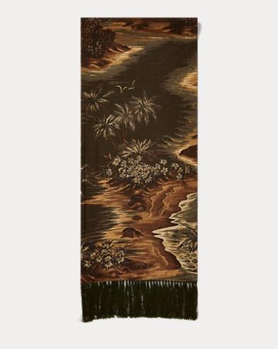 폴로 랄프로렌 Polo Ralph Lauren Tasseled Print Scarf,Olive Multi