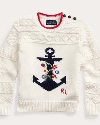 폴로 랄프로렌 Polo Ralph Lauren Intarsia-Anchor Cotton Sweater,Clubhouse Cream