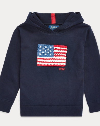 폴로 랄프로렌 여아용 스웨터 Polo Ralph Lauren Flag Hooded Cotton Sweater,Hunter Navy