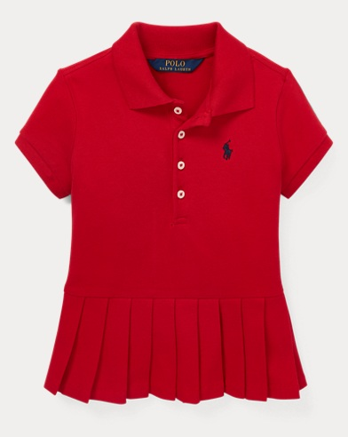 폴로 랄프로렌 Polo Ralph Lauren Pleated-Hem Stretch Mesh Polo,RL 2000 Red
