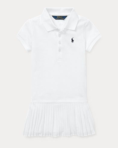 폴로 랄프로렌 Polo Ralph Lauren Pleated Mesh Polo Dress,White