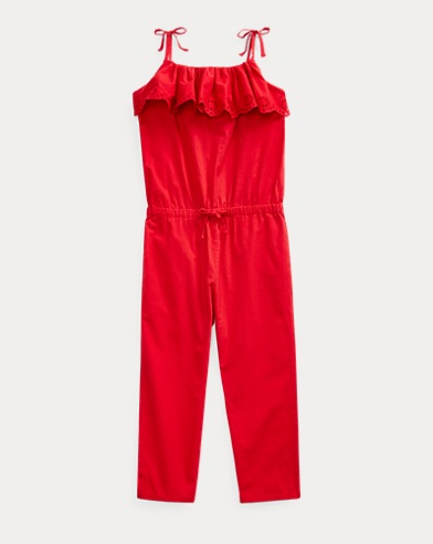 폴로 랄프로렌 Polo Ralph Lauren Eyelet Cotton Batiste Romper,RL 2000 Red