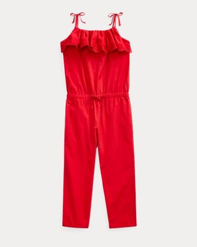 폴로 랄프로렌 여아용 롬퍼 Polo Ralph Lauren Eyelet Cotton Batiste Romper,RL 2000 Red