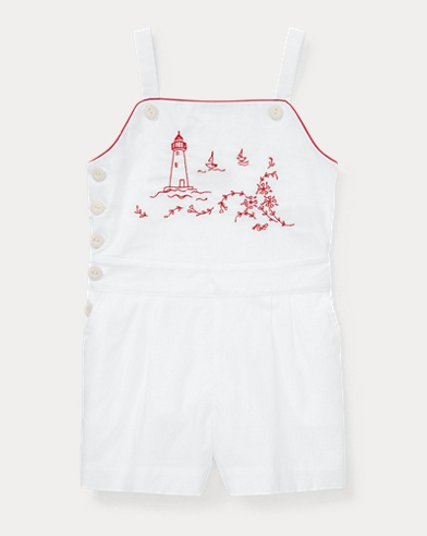 폴로 랄프로렌 Polo Ralph Lauren Embroidered Cotton Romper,White
