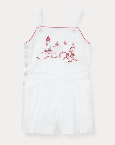 폴로 랄프로렌 여아용 롬퍼 Polo Ralph Lauren Embroidered Cotton Romper,White