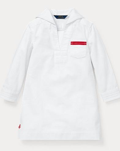 폴로 랄프로렌 Polo Ralph Lauren Sailor-Collar Cotton Dress,White