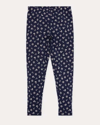 폴로 랄프로렌 Polo Ralph Lauren Anchor Stretch Cotton Legging,Navy/White