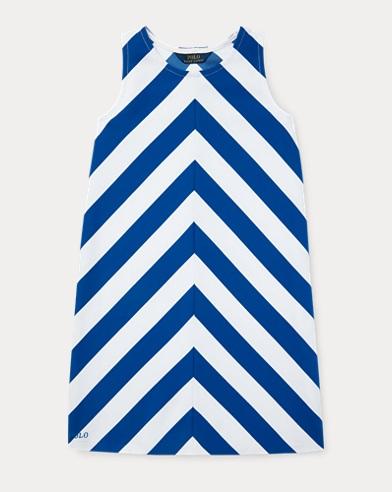 폴로 랄프로렌 Polo Ralph Lauren Chevron Stretch Ponte Dress,Sapphire Star/White