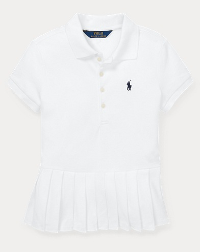 폴로 랄프로렌 Polo Ralph Lauren Pleated-Hem Stretch Mesh Polo,White