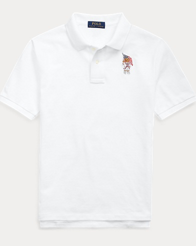 폴로 랄프로렌 Polo Ralph Lauren Flag Bear Cotton Mesh Polo,White