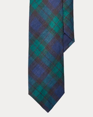 폴로 랄프로렌 Polo Ralph Lauren Tartan Linen Narrow Tie,Navy/Green