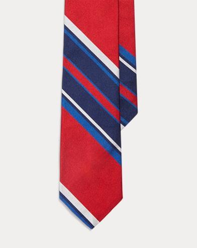 폴로 랄프로렌 Polo Ralph Lauren Striped Silk Narrow Tie,Navy/Red/White