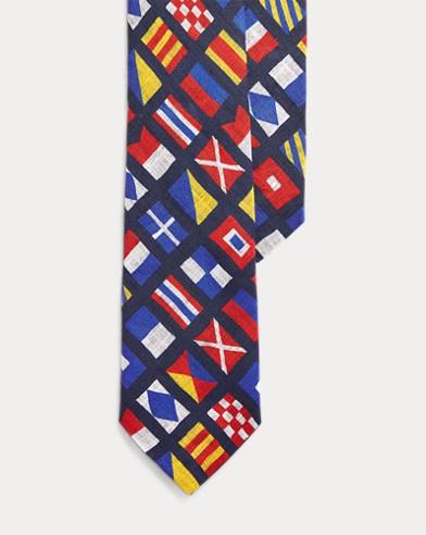 폴로 랄프로렌 Polo Ralph Lauren Nautical Linen Narrow Tie,Navy