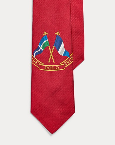 폴로 랄프로렌 Polo Ralph Lauren Crossed-Flag Silk Tie,Red