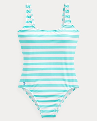 폴로 랄프로렌 Polo Ralph Lauren Striped Lace-Up-Back One-Piece,Lagoon