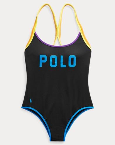 폴로 랄프로렌 Polo Ralph Lauren Polo Racerback Swimsuit,Black