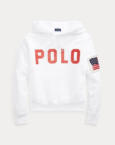 폴로 랄프로렌 우먼 로고 후리스 후디 - 화이트 (손나은 착용) Polo Ralph Lauren Polo Drawcord Fleece Hoodie, White