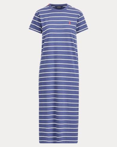 폴로 랄프로렌 스트라이프 티셔츠 원피스 - 네이비 Polo Ralph Lauren Striped Cotton T-Shirt Dress,New Classic Navy/Herbal M