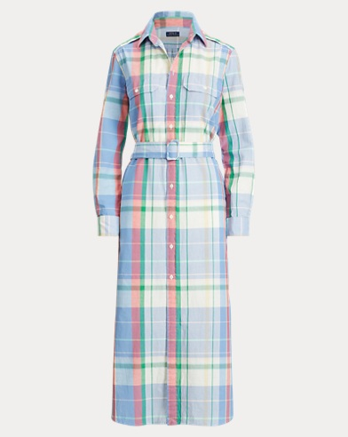 폴로 랄프로렌 마드라스 셔츠 원피스 Polo Ralph Lauren Cotton Madras Shirtdress,101 Soft Blue/Pink