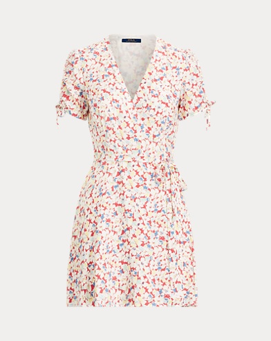 폴로 랄프로렌 Polo Ralph Lauren Floral Crepe Wrap Dress,Sakura Floral
