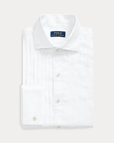 폴로 랄프로렌 Polo Ralph Lauren Slim Fit Linen Tuxedo Shirt,White