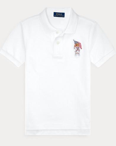 폴로 랄프로렌 남아용 곰돌이 반팔 폴로셔츠 Polo Ralph Lauren Flag Bear Cotton Mesh Polo,White
