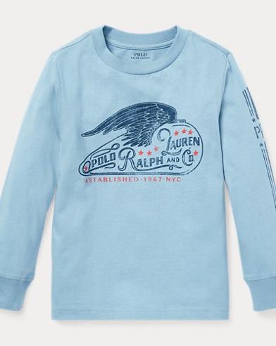 폴로 랄프로렌 남아용 그래픽 긴팔티 - 캐시디 블루 Polo Ralph Lauren Cotton Jersey Graphic Tee,Cassidy Blue