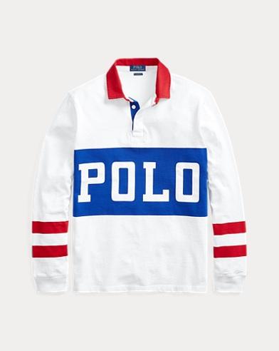 폴로 랄프로렌 Polo Ralph Lauren Classic Fit Cotton Rugby Shirt,White Multi