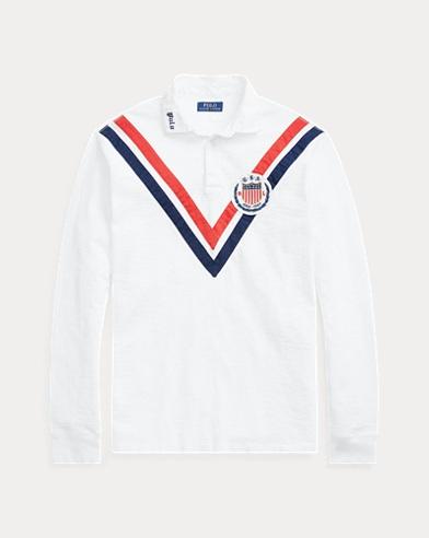 폴로 랄프로렌 Polo Ralph Lauren Classic Fit Cotton Rugby Shirt,Classic Oxford White