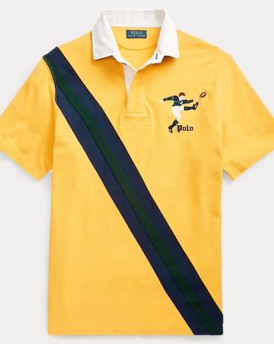 폴로 랄프로렌 Polo Ralph Lauren Classic Fit Mesh Rugby Shirt,Gold Bugle Multi