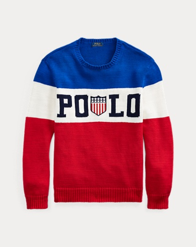 폴로 랄프로렌 Polo Ralph Lauren Striped Cotton Sweater,Royal Multi