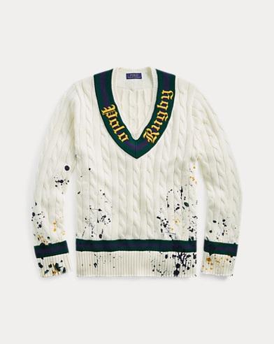 폴로 랄프로렌 Polo Ralph Lauren Distressed Cricket Sweater,Cream/Forest/Wine