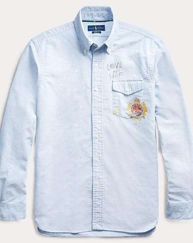 폴로 랄프로렌 Polo Ralph Lauren Custom Fit Crest-Print Shirt,Blue Crest