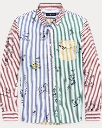폴로 랄프로렌 Polo Ralph Lauren Custom Fit Striped Fun Shirt,Heraldic Icon